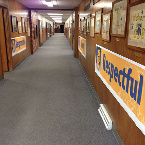 Behavior Expectation Banners in the hall