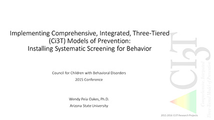 implementing comprehensive, integrated, three-tiered models of prevention: installing systematic screening for behavior