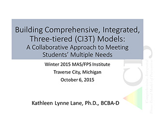 building comprehensive, integrated, three-tiered models: a collaborative approach to meeting students' multiple needs