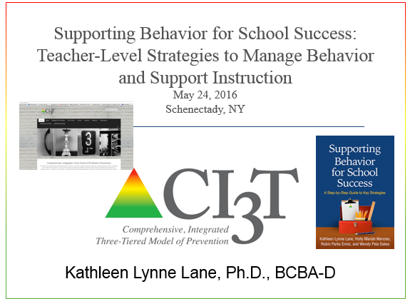 supporting behavior for school success: teacher-level strategies to manage behavior and support instruction