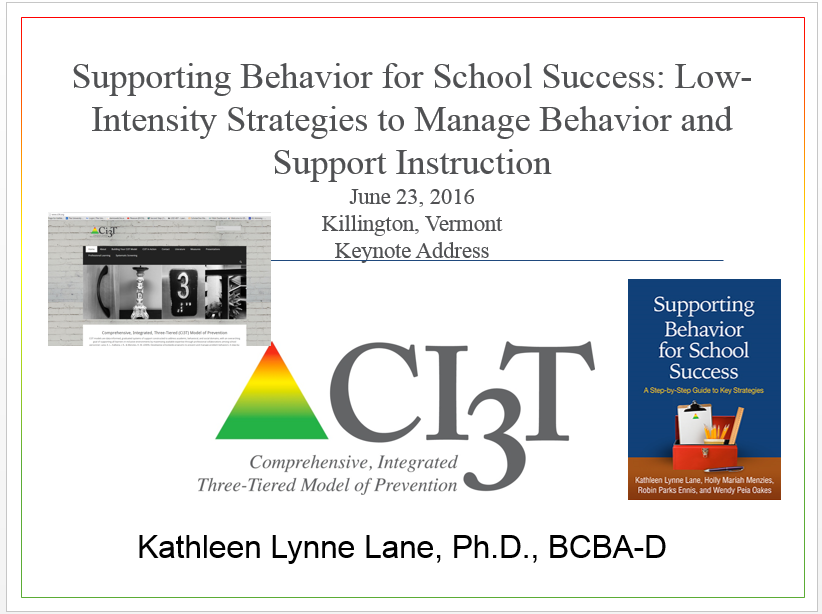 "A Powerpoint slide with the title ""Supporting Behavior for School Success: Low-Intensity Strategies to Manage Behavior and Support Instruction"