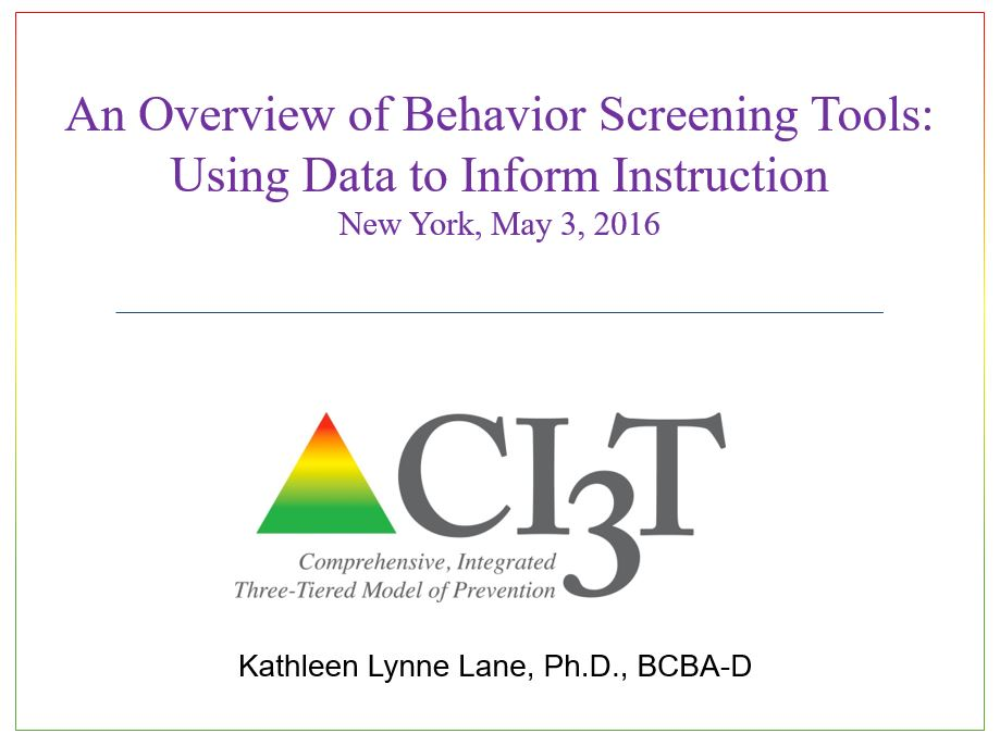 An Overview of Behavior Screening Tools: Using Data to Inform Instruction