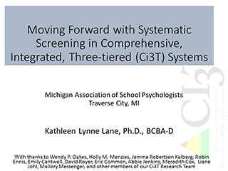 moving forward with systematic screening in comprehensive integrated, three-tiered systems