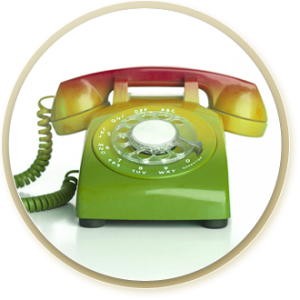 green yellow and red rotary telephone