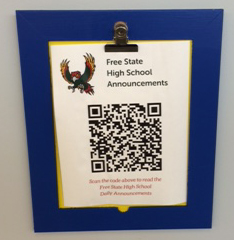 College and Career Center QR code for high school announcements