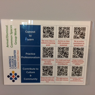 College and Career Center expectation matrix QR codes (student scan when receive a ticket)