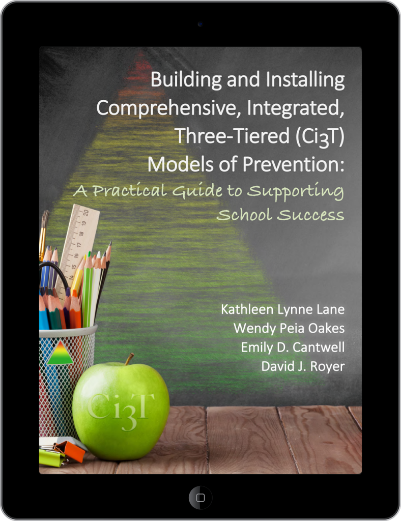 Image of book available on iBooks titled, Building and installing comprehensive integrated three-tiered models of prevention: A Practical guide to supporting school success.