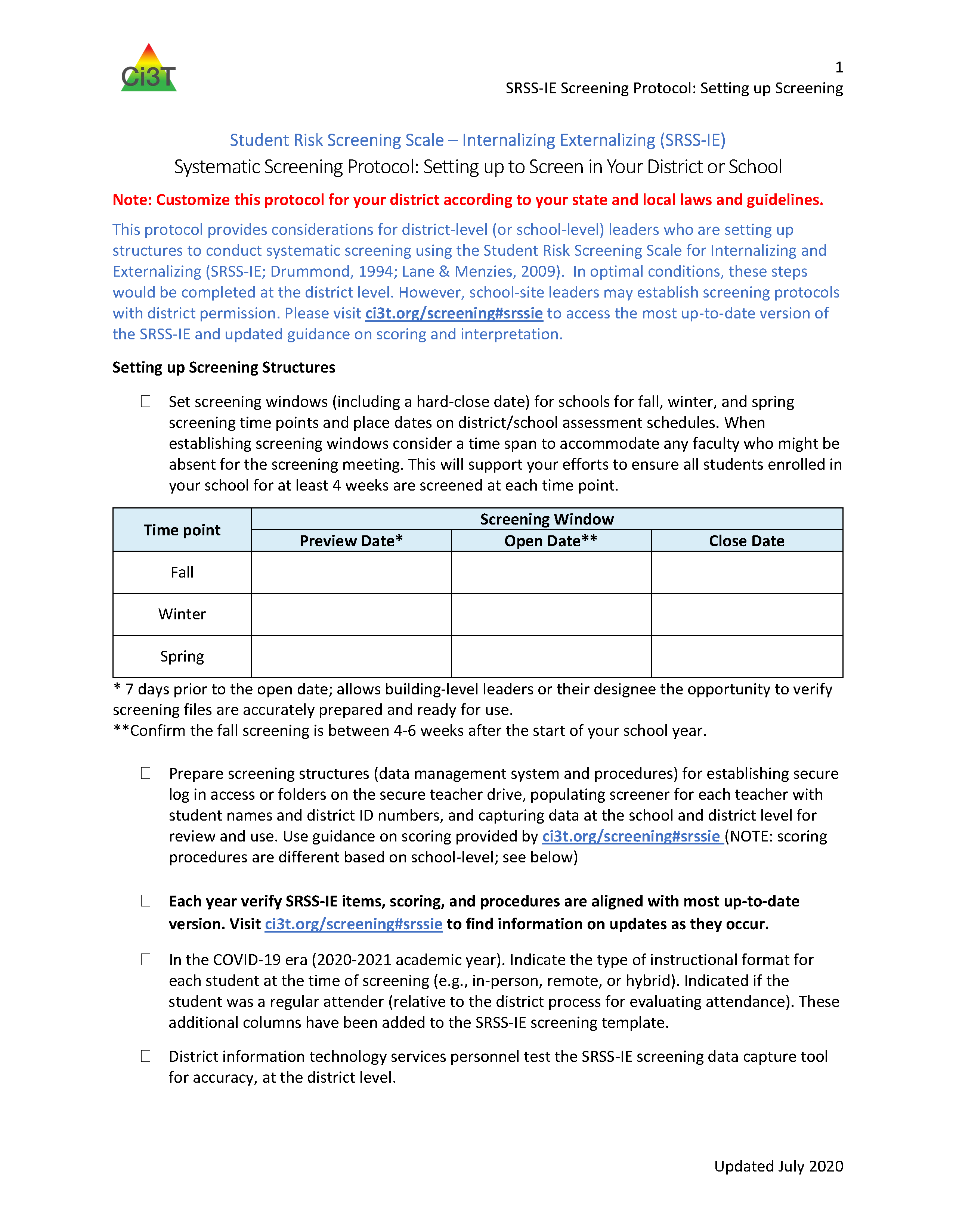 2020 2021 SRSS IE Screening Protocol: Setting up to Screen in Your District or School
