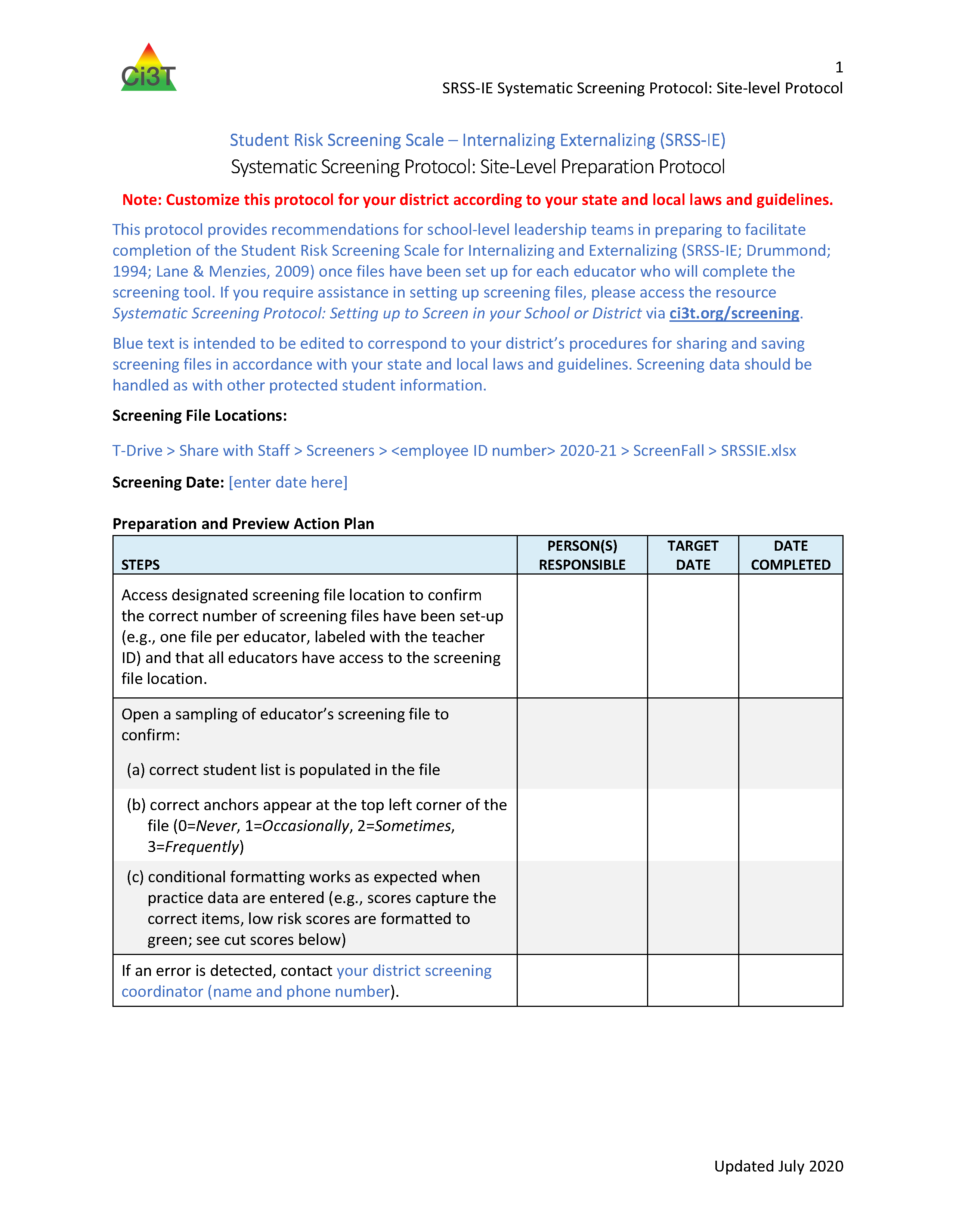 2020 2021 SRSS IE Screening Protocol: Site-Level Protocol Example to post 2016 08 03
